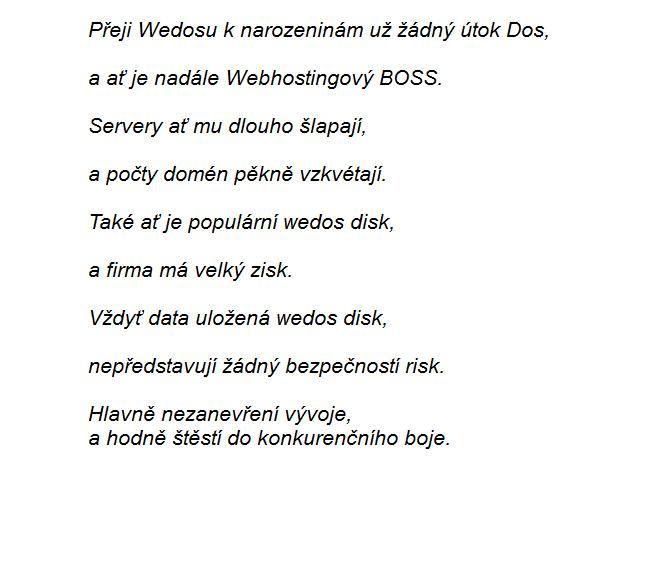 narozeninové přání text Narozeninová přání od klientů   datacentrum WEDOS narozeninové přání text